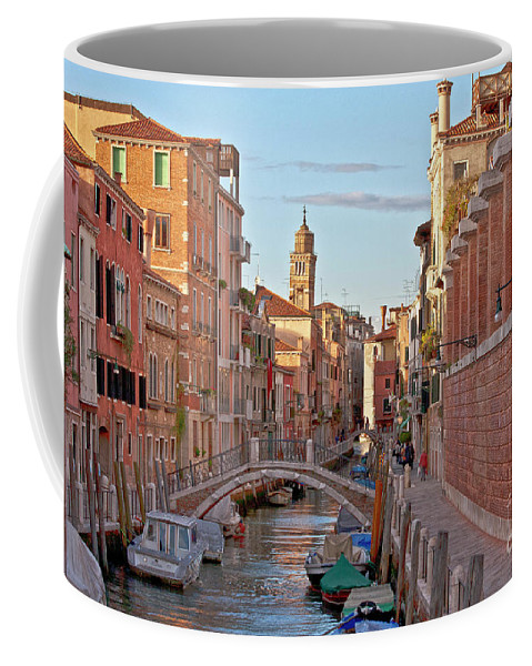 Venice Coffee Mug featuring the photograph Venice Waterway by Heiko Koehrer-Wagner