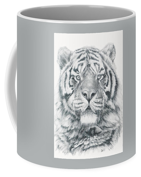 Tiger Coffee Mug featuring the drawing Venturer by Barbara Keith
