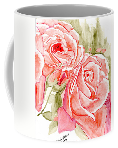 Pink Roses Coffee Mug featuring the painting Vermilion Pink Roses by Alexis Grone