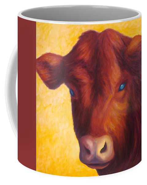 Bull Coffee Mug featuring the painting Vern by Shannon Grissom