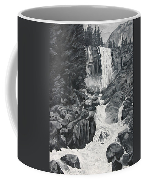 Landscape Coffee Mug featuring the painting Vernal Falls Black And White by Travis Day