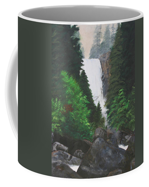 Landscape Coffee Mug featuring the painting Vernal Falls by Travis Day