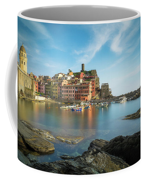 Architecture Coffee Mug featuring the photograph Vernazza Golden Hour by Roelof Nijholt