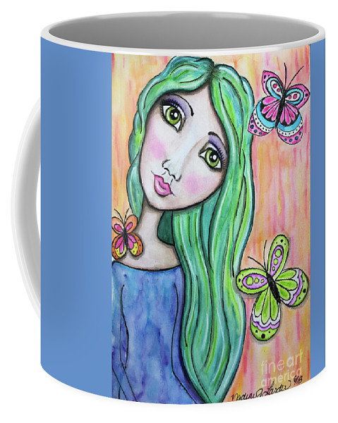 Whimsical Character Coffee Mug featuring the painting Hazel by Nadine Larder