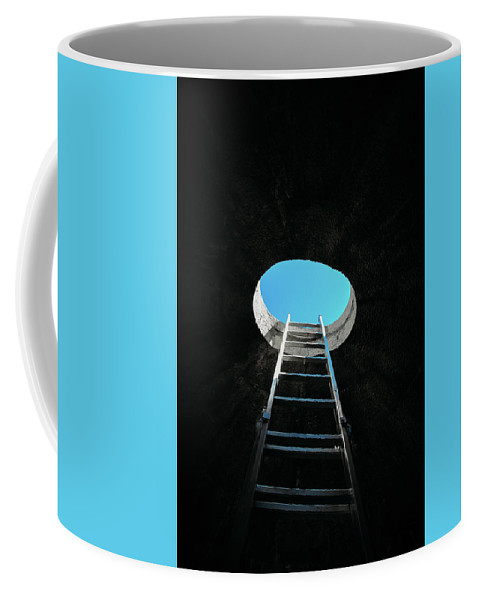 Success Coffee Mug featuring the photograph Vertical Step-ladder On Ceiling Window by Alexandre Rotenberg