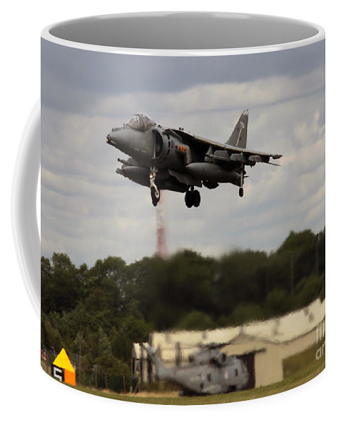 Harrier Coffee Mug featuring the photograph Vertical Take-off by Angel Ciesniarska