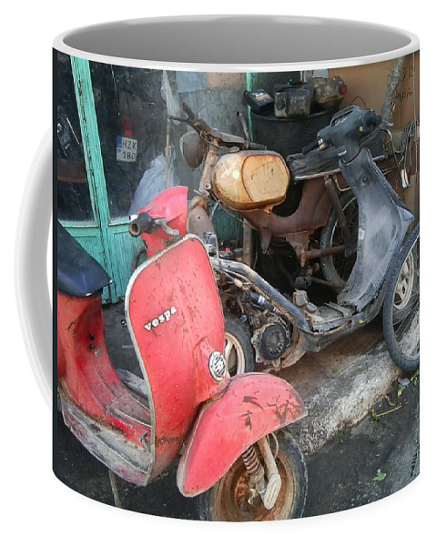 Scooter Coffee Mug featuring the photograph Vespa Scooter by Heather Lennox
