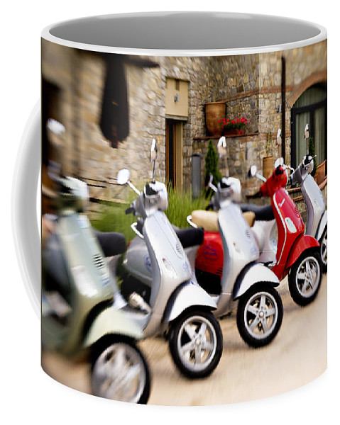Vespa Coffee Mug featuring the photograph Vespas In Line by Marilyn Hunt