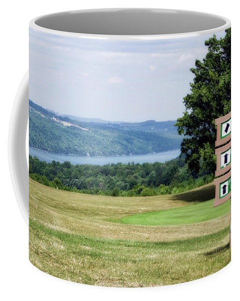Tully New York Coffee Mug featuring the photograph Vesper Hills Golf Club Tully New York 1st Tee Signage by Thomas Woolworth