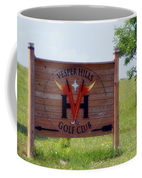 Tully New York Coffee Mug featuring the photograph Vesper Hills Golf Club Tully New York Signage by Thomas Woolworth