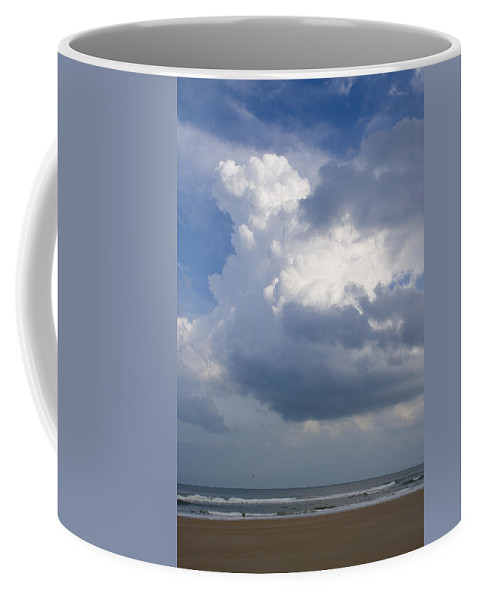 Ocean Nature Beach Sand Wave Water Sky Cloud White Bright Big Sun Sunny Vacation Relax Blue Coffee Mug featuring the photograph Vessels In The Sky by Andrei Shliakhau