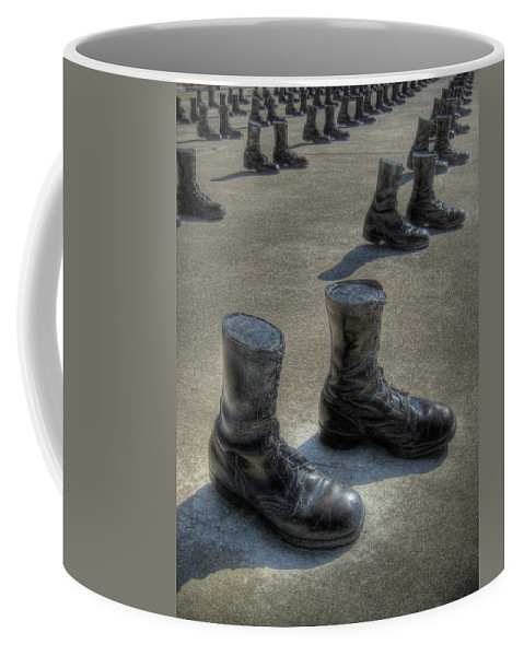 Boots Coffee Mug featuring the photograph Veteran's Memorial Walk by Jane Linders