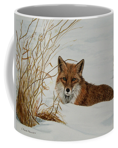 Wildlife Coffee Mug featuring the painting Vexed Vixen - Red Fox by Elaine Booth-Kallweit