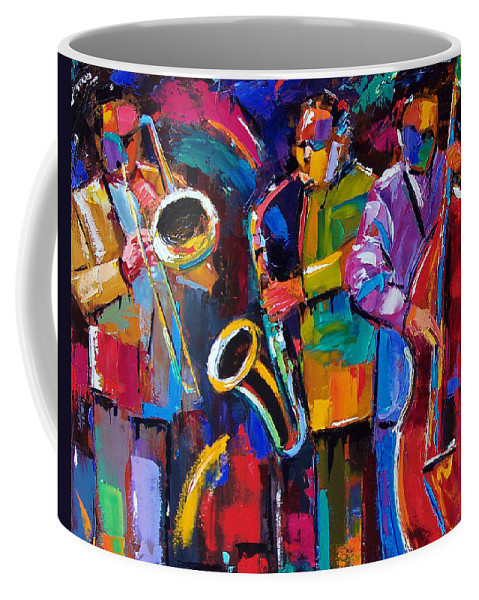 Jazz Coffee Mug featuring the painting Vibrant Jazz by Debra Hurd