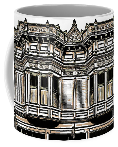 Row Coffee Mug featuring the digital art Victorian Architecture Details by Edward Fielding