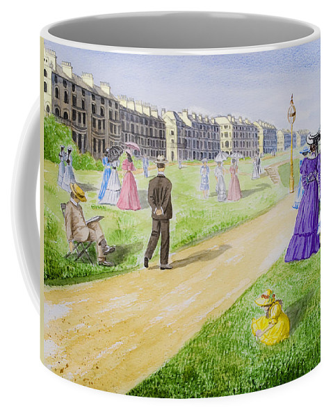 City; Medieval; Old; Street; Town; Traditional; Trees; Watercolor; Watercolour; People; Grass; Villa Coffee Mug featuring the painting Victorian Filey by Svetlana Sewell