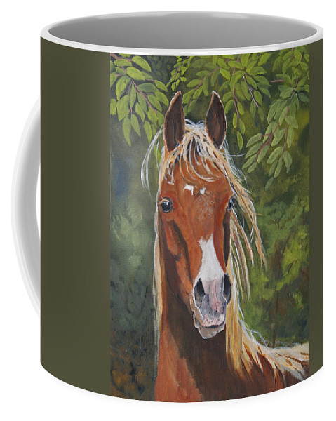 Horse Coffee Mug featuring the painting Victory by Heather Coen