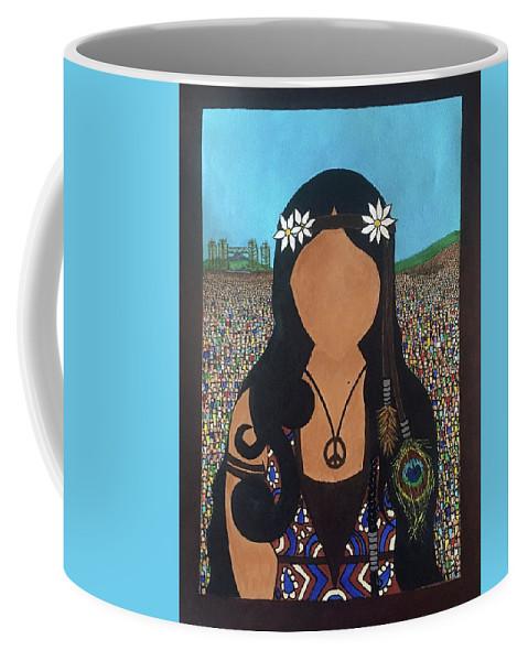 Woodstock Coffee Mug featuring the painting Vidas Pasadas, Woodstock 1969 by Ines Rivera