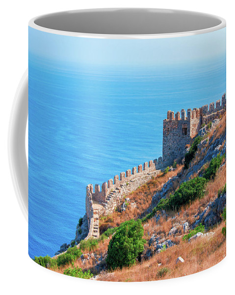 Turkish Riviera Coffee Mug featuring the photograph View Far Out To Sea From Alanya Castle by Sun Travels