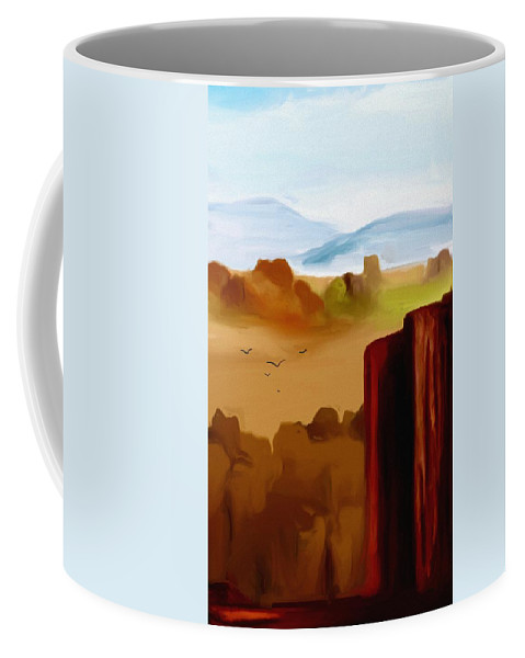Digital Painting Coffee Mug featuring the digital art View From A Butte by David Lane