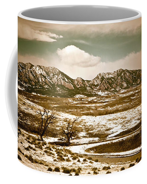 Landscape Coffee Mug featuring the photograph Flatironsview From Superior by Marilyn Hunt