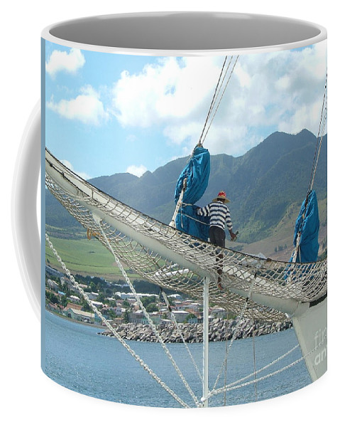 Sailing Coffee Mug featuring the photograph St. Kitts From The Bow by Neil Zimmerman