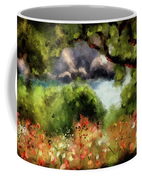 Corfu Coffee Mug featuring the digital art View From The Terrace - Paleokastritsa by Lois Bryan