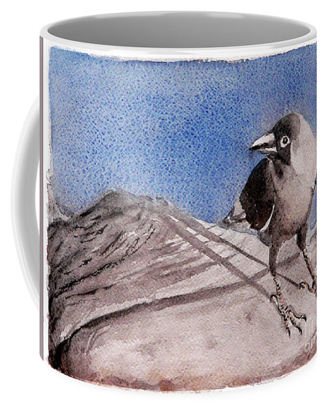 Crow Coffee Mug featuring the painting View by Jasna Dragun