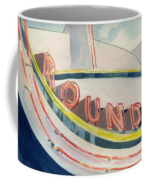 Carousel Coffee Mug featuring the painting View of a carousel by Andrew Gillette