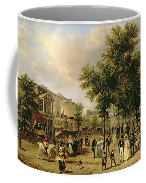View Coffee Mug featuring the painting View Of Boulevard Montmartre by Guiseppe Canella