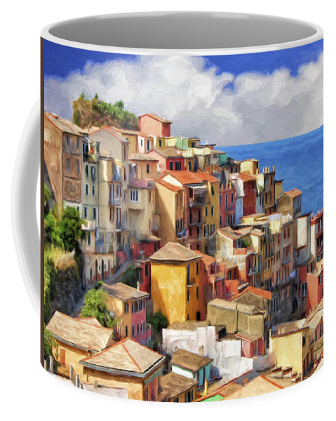 Monterosso Al Mare Coffee Mug featuring the painting View Of Manarola by Dominic Piperata