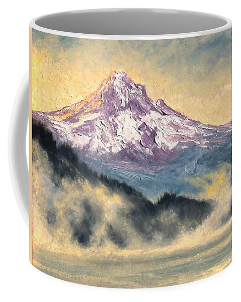 Lanscape Coffee Mug featuring the painting View Of Mt Hood by Jim Gola