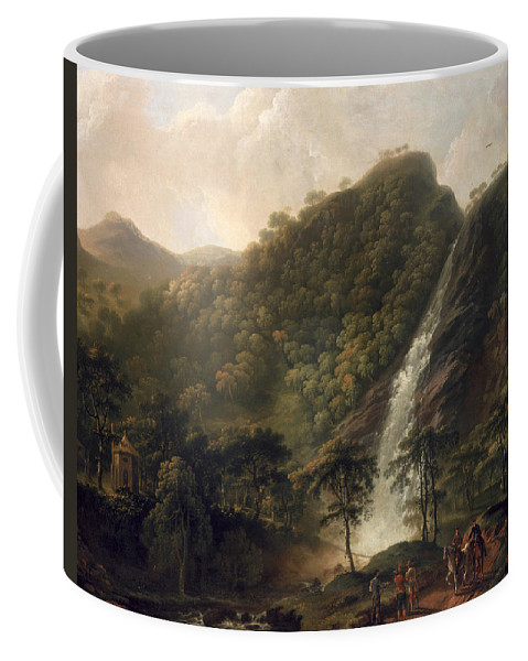 Waterfall Coffee Mug featuring the painting View Of Powerscourt Waterfall by George the Elder Barret