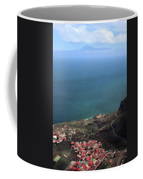 La Gomera Coffee Mug featuring the digital art View Of Teide From La Gomera by Cambion Art