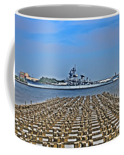 Battleship Coffee Mug featuring the photograph View Of The Battleship New Jersey From Philadelphia by Bill Cannon