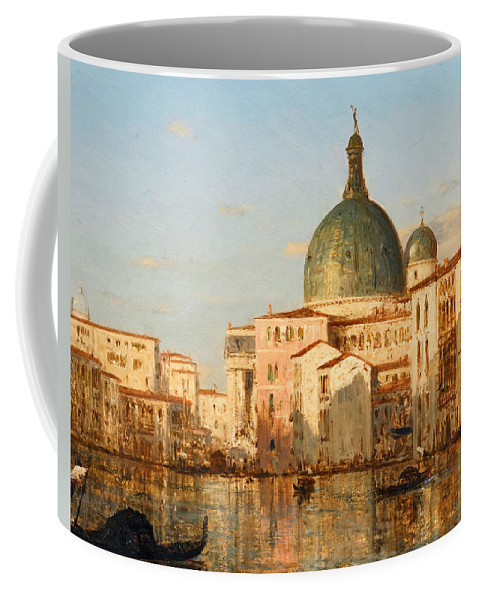 Felix Ziem Coffee Mug featuring the painting View Of Venice With San Simeone Piccolo by Felix Ziem