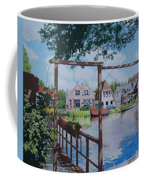Landscape Coffee Mug featuring the mixed media View On Hillegersberg by Constance Drescher