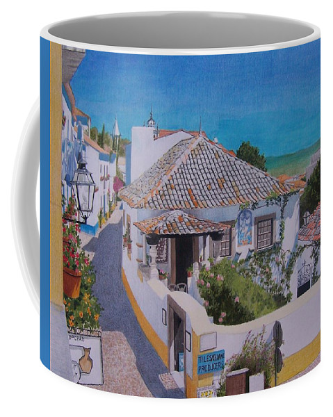 Green Coffee Mug featuring the mixed media View On Obidos by Constance Drescher