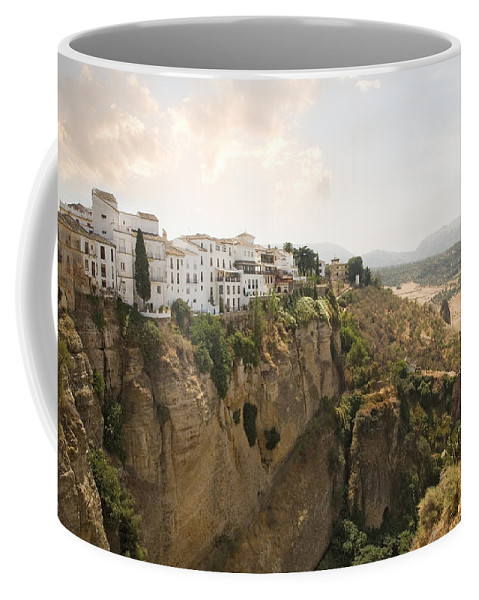 Ronda Coffee Mug featuring the photograph View Over The Tajo Gorge Ronda Home Of Bullfighting by Mal Bray