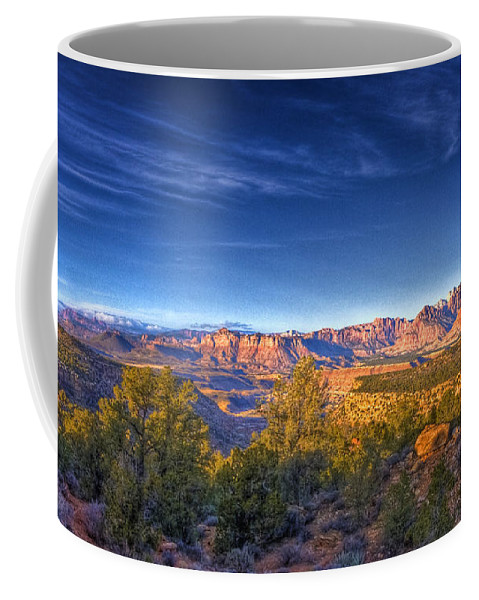 Landscape Coffee Mug featuring the photograph View Zion From Afar by Ches Black