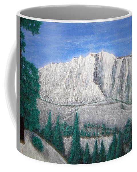 Snow Coffee Mug featuring the painting Viewfrom Spruces by Michael Cuozzo