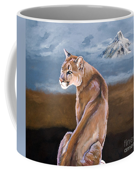 Indigenous Wildlife Coffee Mug featuring the painting Vigilance by J W Baker