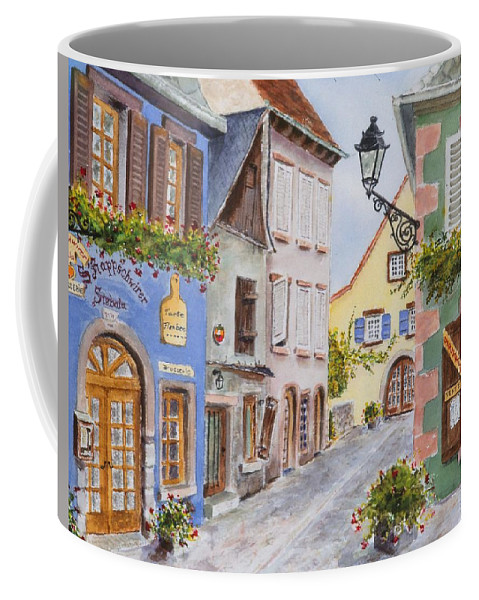 Village Coffee Mug featuring the painting Village In Alsace by Mary Ellen Mueller Legault