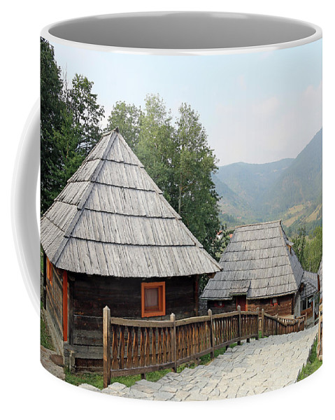 House Coffee Mug featuring the photograph Village With Wooden Cabin Log On Mountain by Goce Risteski