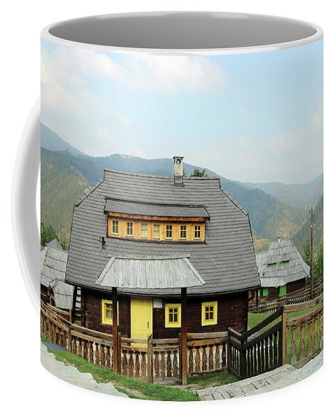 House Coffee Mug featuring the photograph Village With Wooden Houses On Mountain by Goce Risteski
