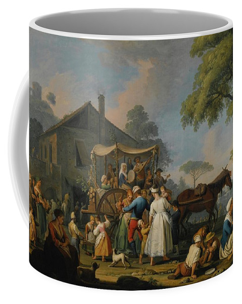 Pietro Fabris Villagers Preparing To Depart For The Festival Of The Madonna Dell'arco Coffee Mug featuring the painting Villagers Preparing To Depart For The Festival by MotionAge Designs