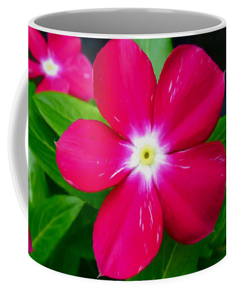 Vinca Flower Coffee Mug featuring the painting Vinca Flower by Jeelan Clark