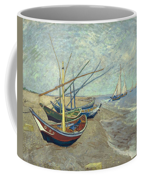 Art Coffee Mug featuring the painting Vincent Van Gogh Fishing Boats On The Beach At Les Saintes Maries De La Mer by Artistic Panda