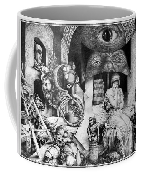 Surrealism Coffee Mug featuring the drawing Vindobona Altarpiece IIi - Snakes And Ladders by Otto Rapp