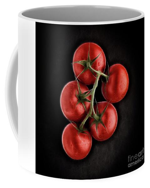 Ripe Coffee Mug featuring the digital art Vine Ripened Tomatoes. by Phill Thornton